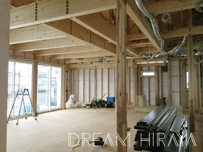 ◆積水ハウスの平屋!木工事!無駄のない間取りが現実に!?リビングやキッチン等の床組み!◆